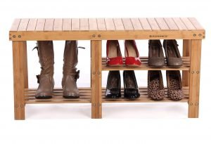 Songmics bamboo entryway boots bench