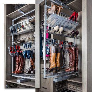 Polished chrome boots and shoes rotating rack
