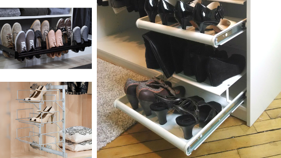 Pull out shoe rack for closet