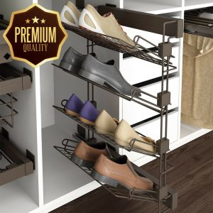 Emuca 7087113 Pull-out shoe-rack accessory with soft closing for wardrobe