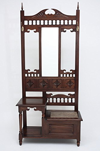 Laurel Crown Mahogany Hall Tree A with Telephone Stand