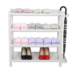 4-Tier Plastic Shoes Storage Holder Shelf Rack Umbrella Stand Organizer White US
