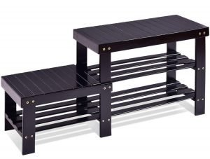 COSTWAY 2-Tier Bamboo Shoe Bench