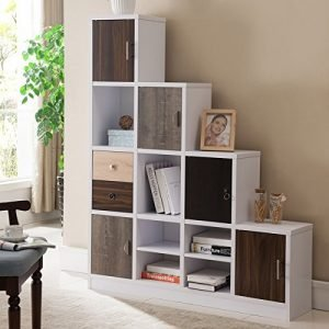 Furniture of America Arla White Multi-storage Staircase Bookcase:Display Shelf