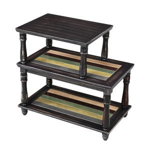 VASAGLE End Table with Colorful Storage Shelf, 3-Tier
