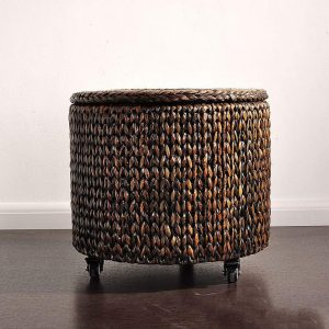 Braided Stool Retro Pulley Mobile Storage with Lid