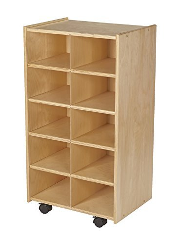Childcraft Mobile Cubby Unit with Locking Casters, 10 Tray Capacit