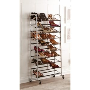 Chrome metal 10 tier rolling shoe rack