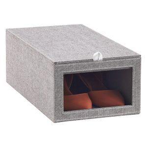 Grey Drop-Front Shoe Box