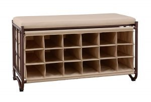 Organize It All 9 Pair Shoe Storage Bench Oil Rubbed Bronze with Canvas Cushion