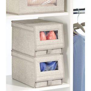 mDesign Fabric small shoe box