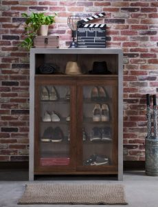 Transitional 16 pair shoe cabinet